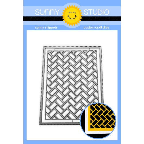 Sunny Studio Stamps Frilly Frames Herringbone Parquet A2 Background Backdrop Stitched Metal Cutting Dies