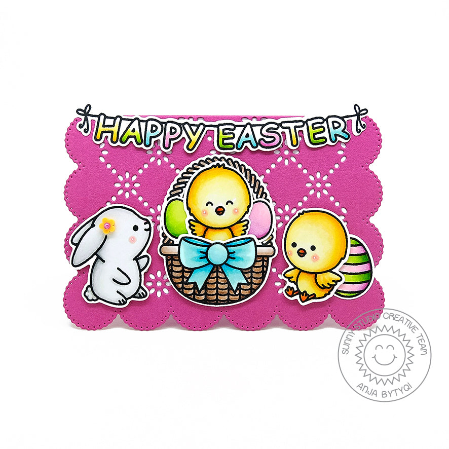 Sunny Studio Stamps Happy Easter Chick, Bunny, Eggs & Basket Scalloped Handmade Card (using Frilly Frames Eyelet Lace Metal Cutting Dies)