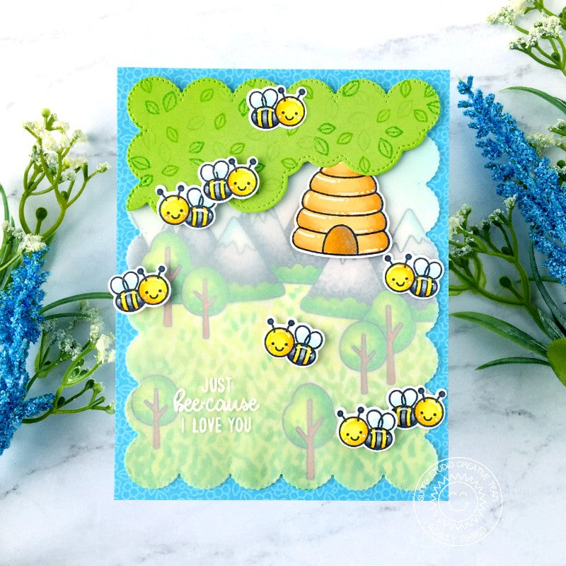 Sunny Studio Stamps Just Bee-Cause I Love You Honey Bee with Beehive, Mountains and Trees Handmade Card (using Spring Scenes Borders 4x6 Clear Photopolymer Stamp Set)