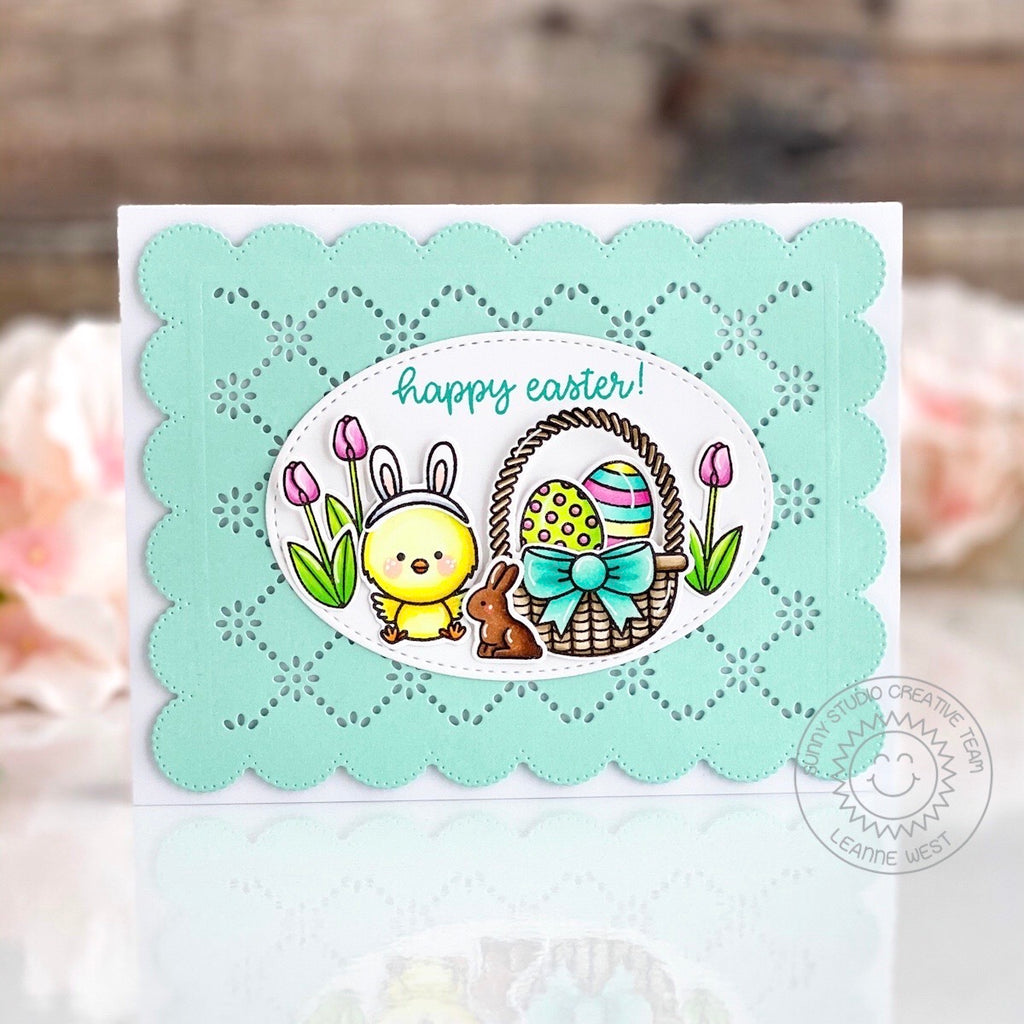 Sunny Studio Stamps Happy Easter Chick with Basket, Eggs & Chocolate Bunny Handmade Card (using scalloped Frilly Frames Eyelet Lace Background Backdrop Mat Metal Cutting Dies)