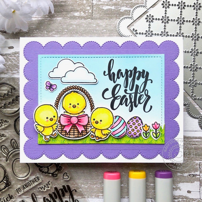 Sunny Studio Stamps Happy Easter Chicks with Basket & Eggs Scene Handmade Card (using Frilly Frames Eyelet Lace Scalloped Background Mat Metal Cutting Dies)