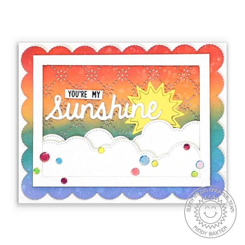 Sunny Studio Stamps You Are My Sunshine Rainbow Card by Mindy Baxter (using Sunshine Word Die)