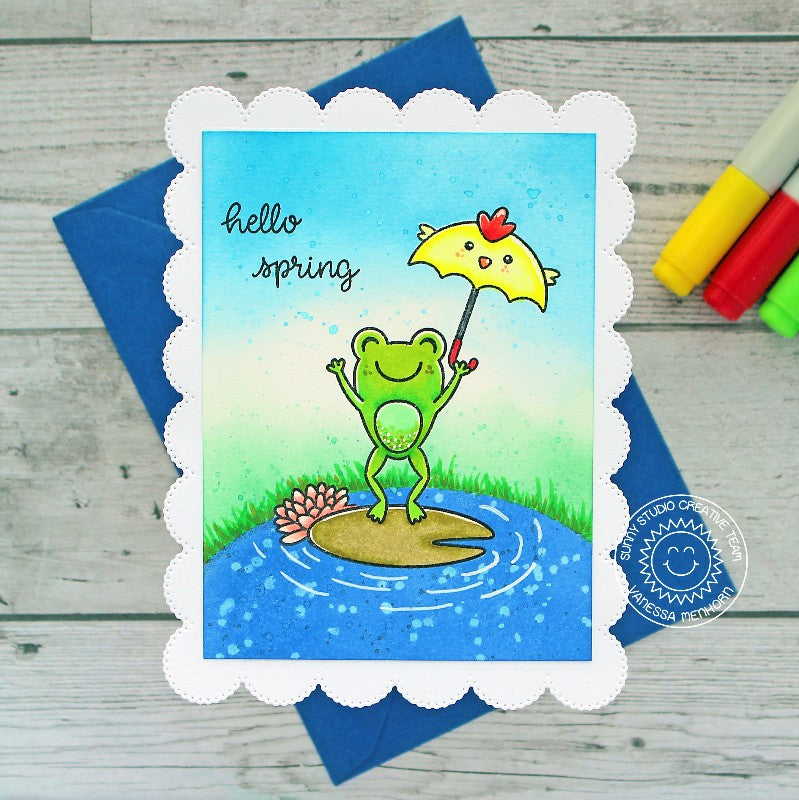 Sunny Studio Stamps Hello Spring Leaping Frog with Lily Pad and Chick Umbrella Handmade Card (using scalloped Frilly Frames Eyelet Lace Background Backdrop Mat Metal Cutting Dies)