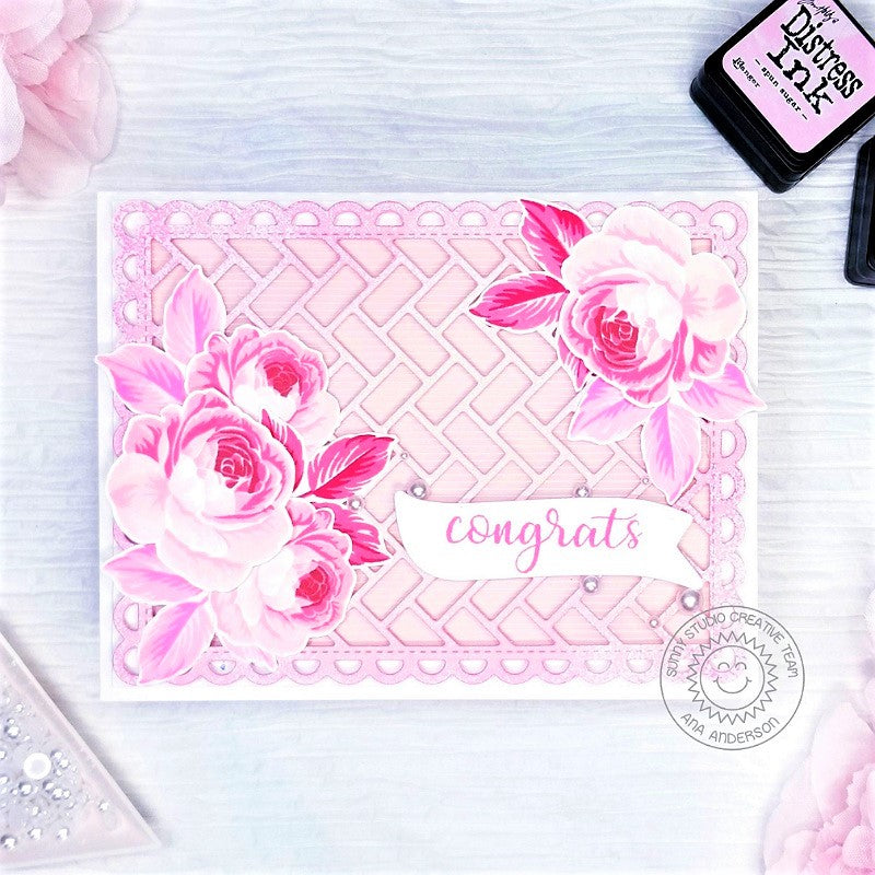 Sunny Studio Stamps Pink Monochromatic Roses Wedding Handmade Congrats Congratulations Card (using Frilly Frames Herringbone & Lattice Metal Cutting Dies)