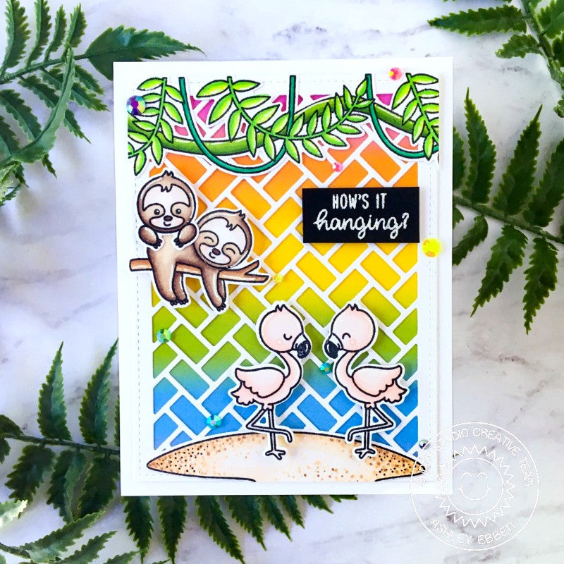 Sunny Studio How's It Hanging? Sloth & Flamingos with Tropical Vines Handmade DIY Rainbow Greeting Card (using Tropical Scenes 4x6 Clear Photopolymer Stamp Set)
