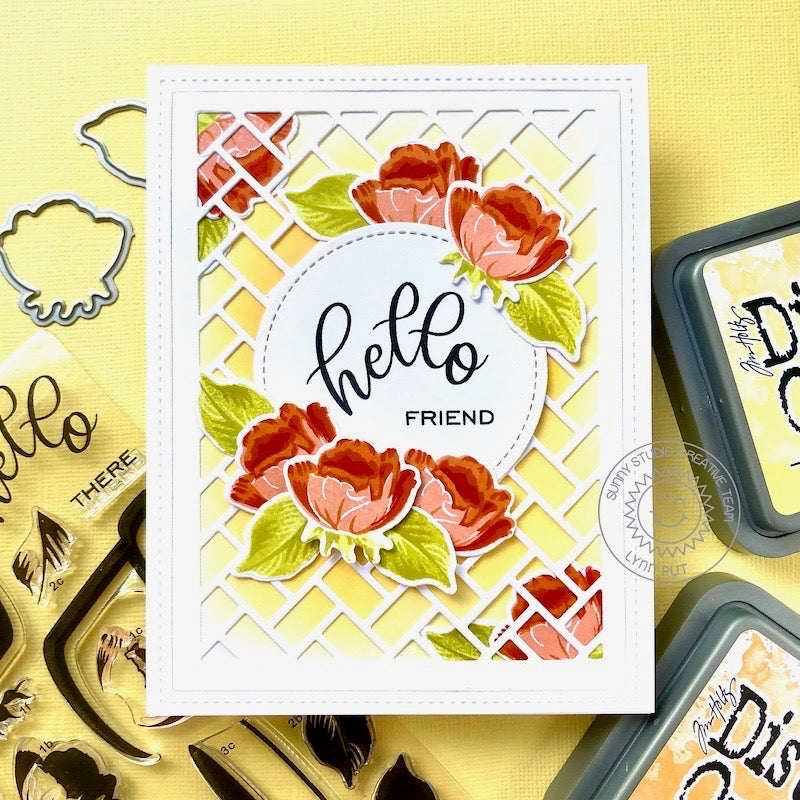 Sunny Studio Stamps Hello Friend Red Layered Floral Roses Handmade Card (using Frilly Frames Herringbone Metal Cutting Dies)
