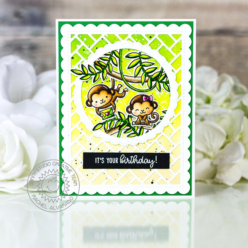 Sunny Studio Hanging Monkey Swing through the Trees with Jungle Vines Handmade DIY Birthday Greeting Card (using Tropical Scenes 4x6 Clear Photopolymer Stamp Set)
