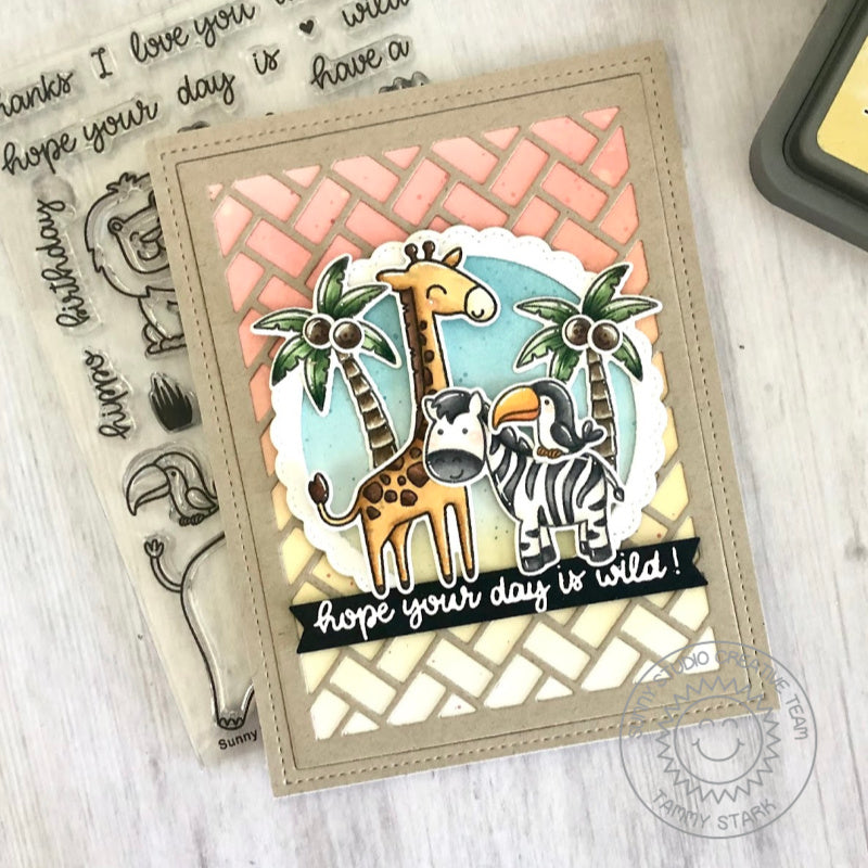 Sunny Studio Stamps Giraffe & Zebra Jungle Themed Handmade Card with basket weave die-cut background (using Frilly Frames Herringbone Metal Cutting Dies)
