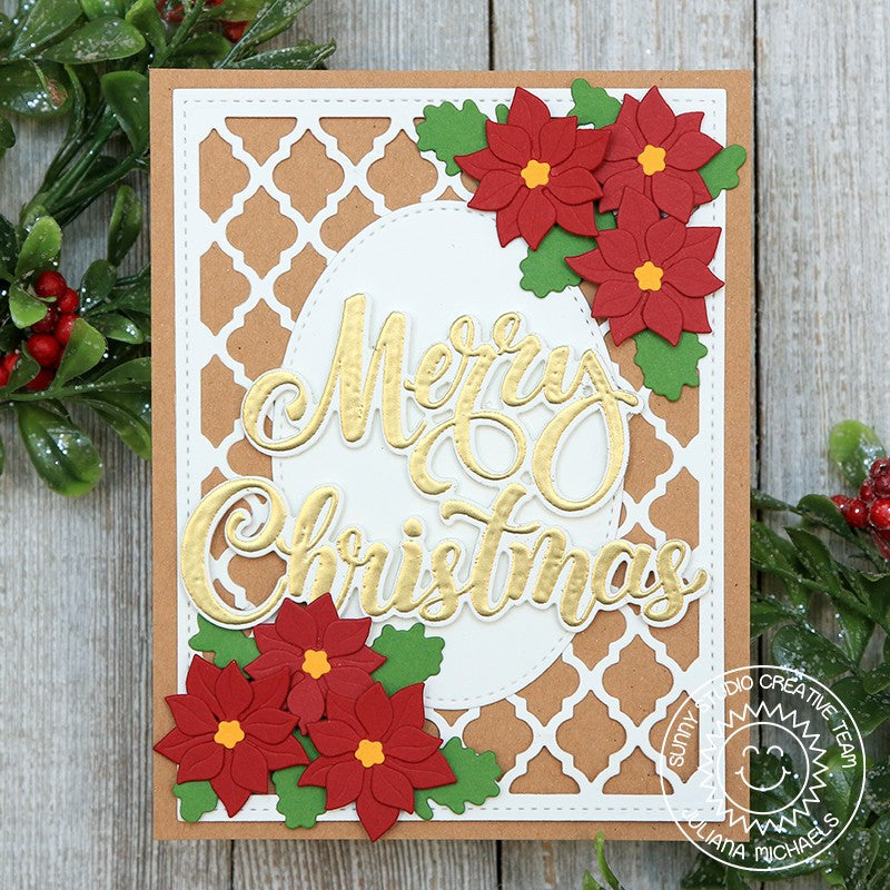 "Sunny Studio Traditional Poinsettia Gold Embossed ""Merry Christmas"" Handmade Holiday Christmas Card (using Season's Greetings Word Metal Cutting Dies)"