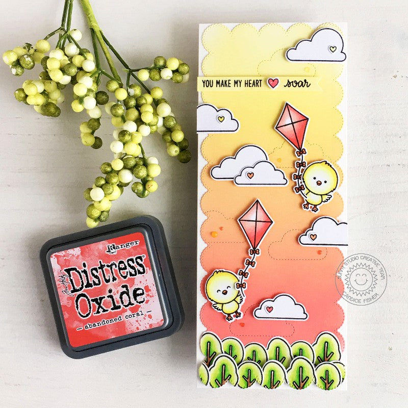 Sunny Studio Chicks Flying Kites over Treetops Handmade Slimline Card (using trees from Spring Scenes Clear Stamps)
