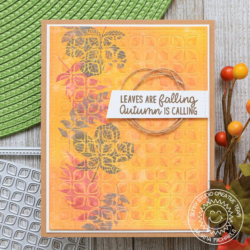 Sunny Studio Stamp Leaves are Falling Autumn is Calling Elegant Leaves Embossed Fall Card using Frilly Frames Retro Petals Die