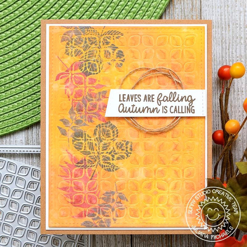 Sunny Studio Stamps Elegant Leaves Autumn Fall Embossed Card with Textured Stamping