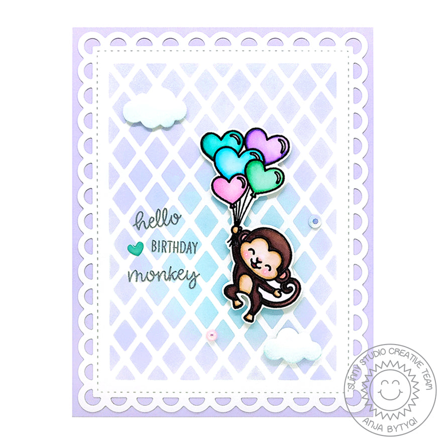 Sunny Studio Stamps Monkey with Balloons Card by Anja (using Frilly Frames Lattice Dies as a stencil)