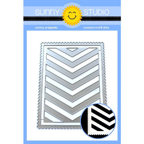 Sunny Studio Stamps Frilly Frames Chevron Stitched Zig Zag Ric Rac Background Mat Metal Cutting Dies