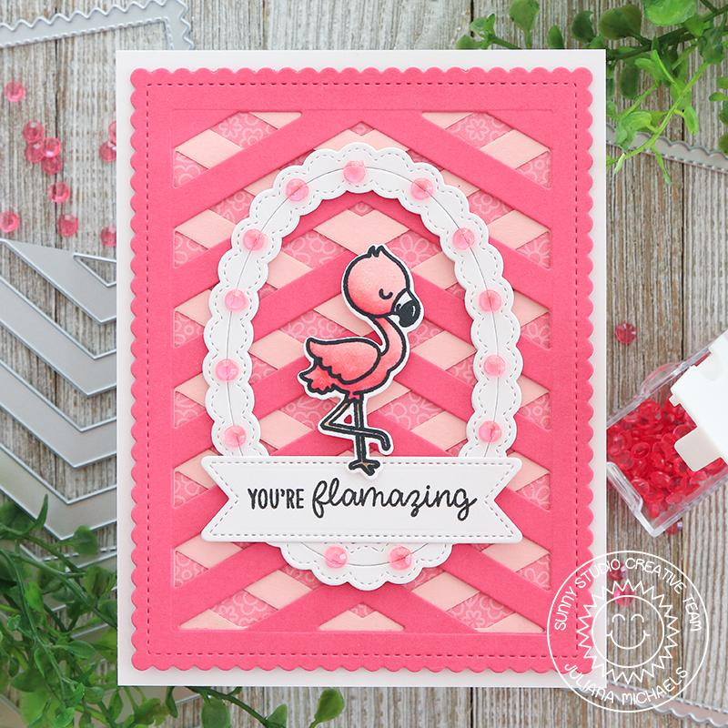 Sunny Studio Stamps Monochromatic Pink Flamingo Lattice Card (using Frilly Frames Chevron Dies)