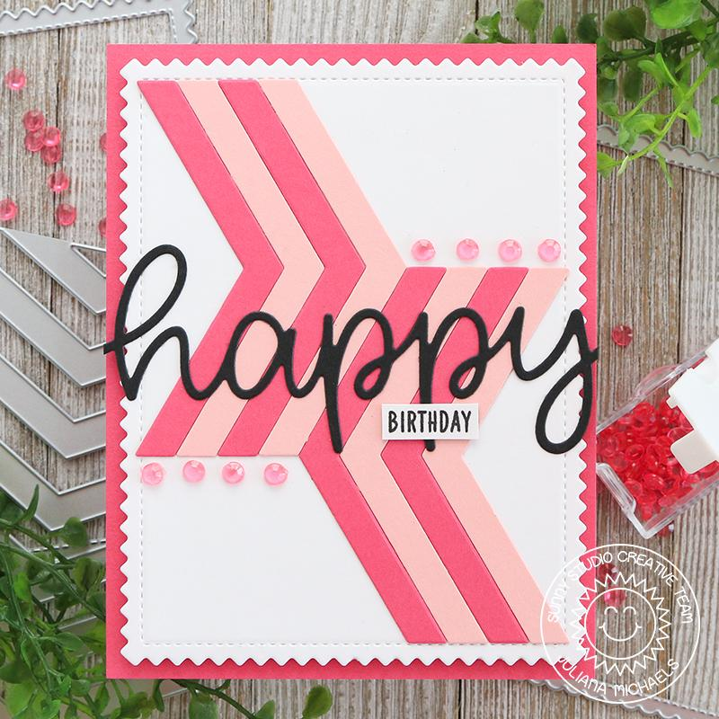 Sunny Studio Stamps Graphic Clean & Simple CAS Pink Striped Birthday Card (using Frilly Frames Chevron Dies)