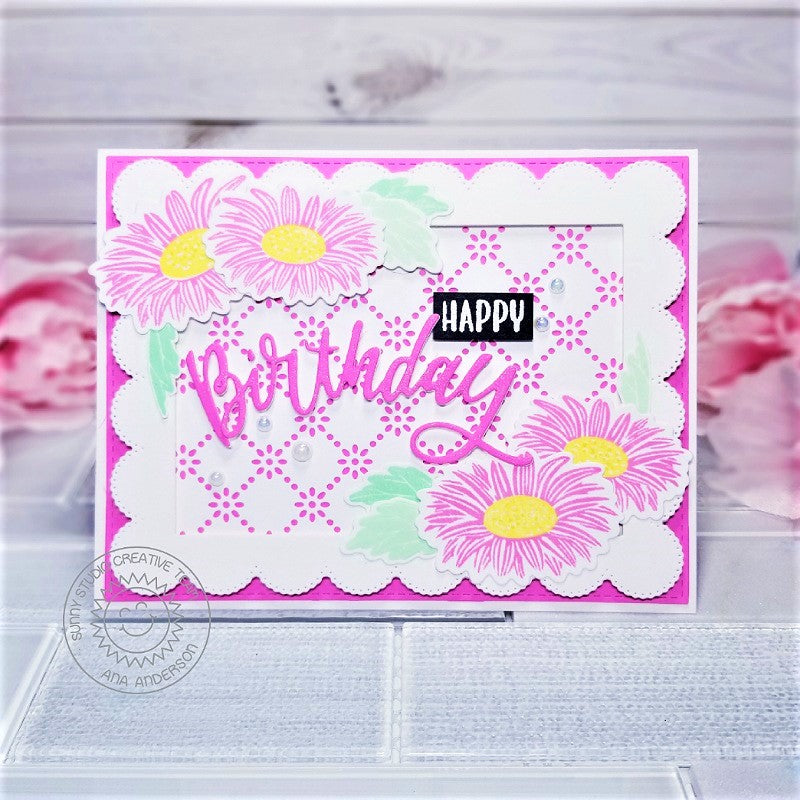 Sunny Studio Stamps Pink & White Eyelet Lace Layered Gerbera Daisy Handmade Spring Birthday Card (using Cheerful Daisies 4x6 Clear Stamps)