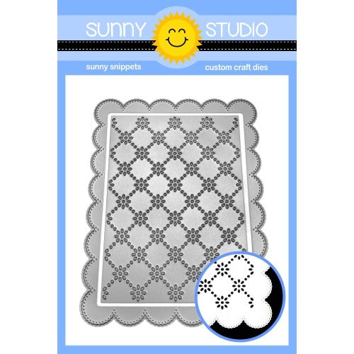 Sunny Studio Frilly Frames Eyelet Lace 2-piece Daisy Scalloped Background Dies