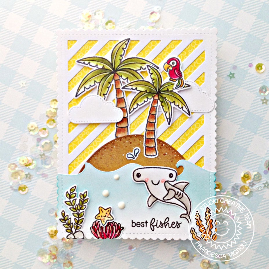 "Sunny Studio ""Best Fishes"" Hammerhead Shark Island Beach Themed Card (using Palm Tree from Seasonal Trees Stamps)"