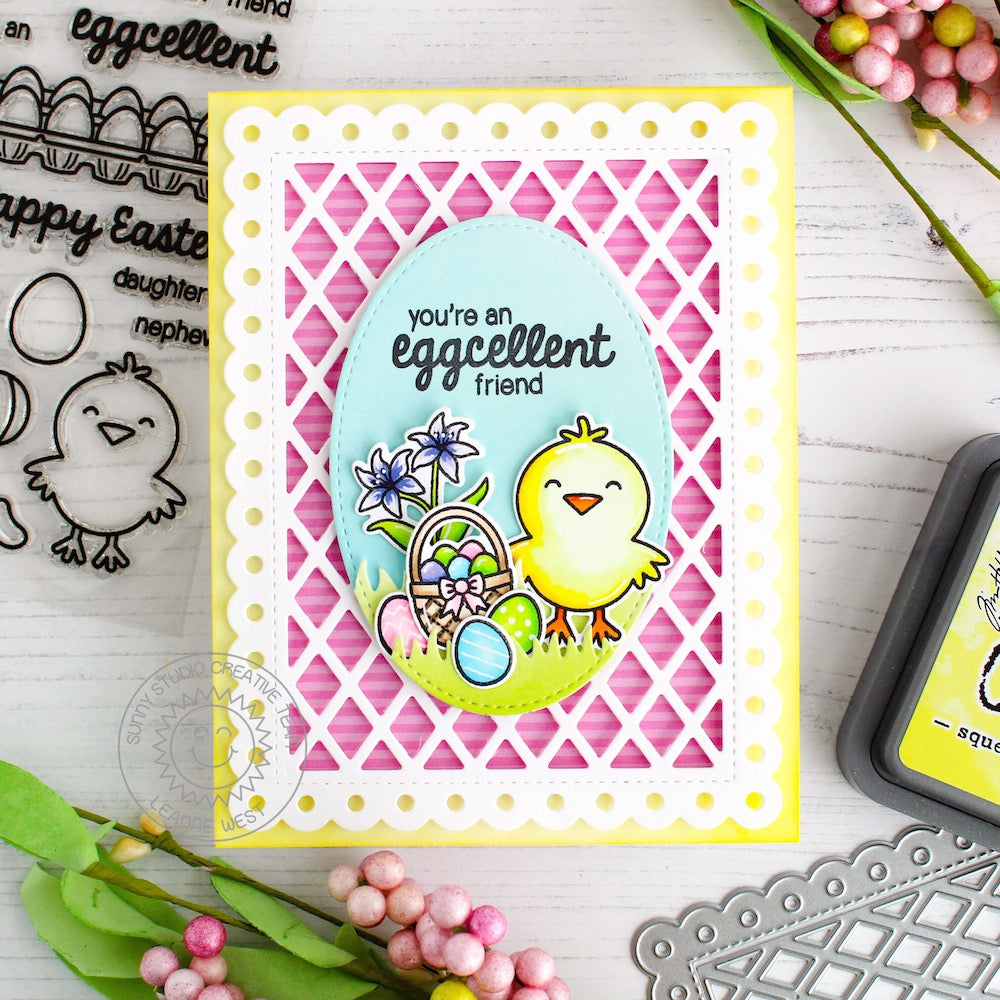Sunny Studio Stamps Chick Easter Card (using Frilly Frames Lattice Dies)