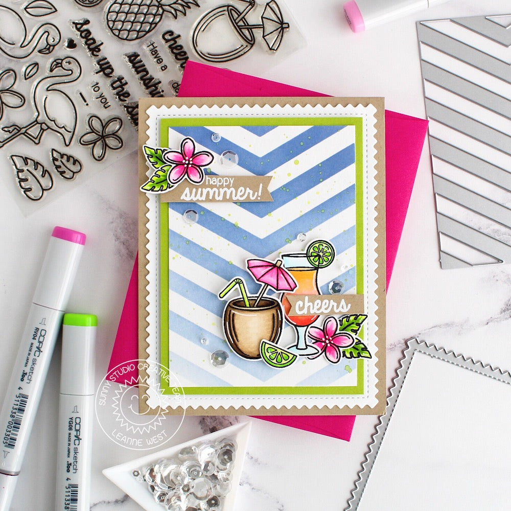 Sunny Studio Stamps Tropical Paradise Fruity Drinks Happy Summer Card (using Frilly Frames Chevron Die as a stencil to mask for inking)