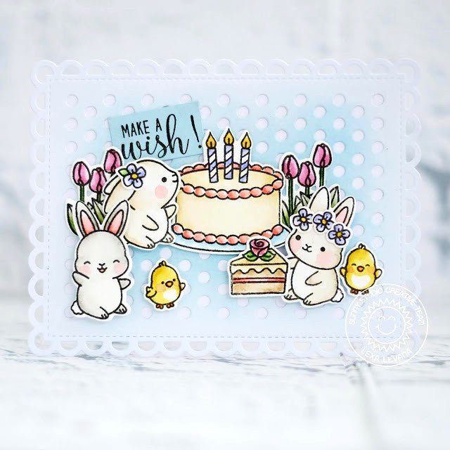 Sunny Studio Rabbits and Birthday Cake Card using Chubby Bunny Stamps