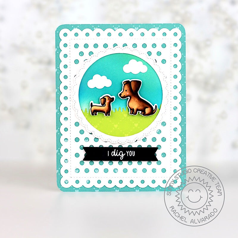 Sunny Studio Stamps Puppy Dog Dachshund Card (using Frilly Frames Polka-dot dies)