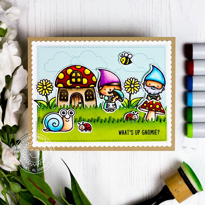 Sunny Studio Stamps Gnomes & Backyard Bugs Summer Card (using Fluffy Clouds stitched dies for background)