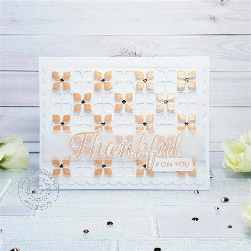 Sunny Studio Stamps Frilly Frames Retro Petals Thankful for You Handmade Flower Thank You Card by Ana Anderson