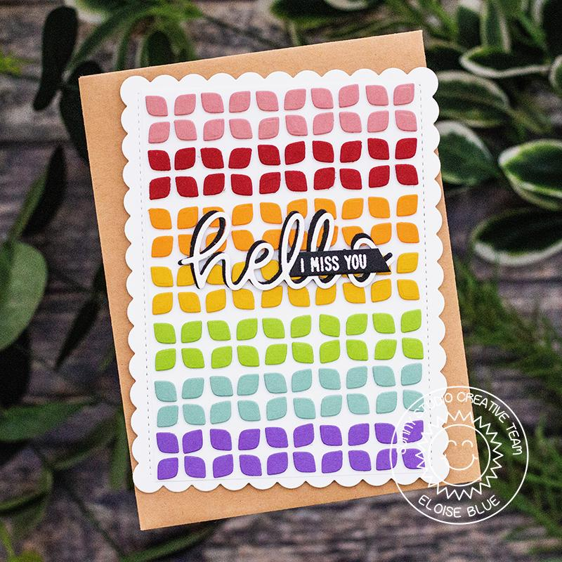 Sunny Studio Stamps Frilly Frames Retro Petals Rainbow Hello Handmade Card by Eloise