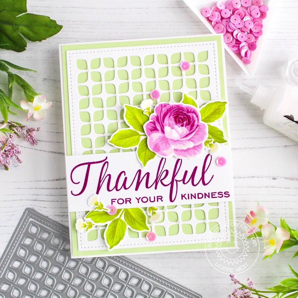Sunny Studio Stamps Everything's Rosy Layered Rose Thankful For Your Kindness Rose Card by Leanne West (using Stitched Frilly Frames Retro Petals Background Die)