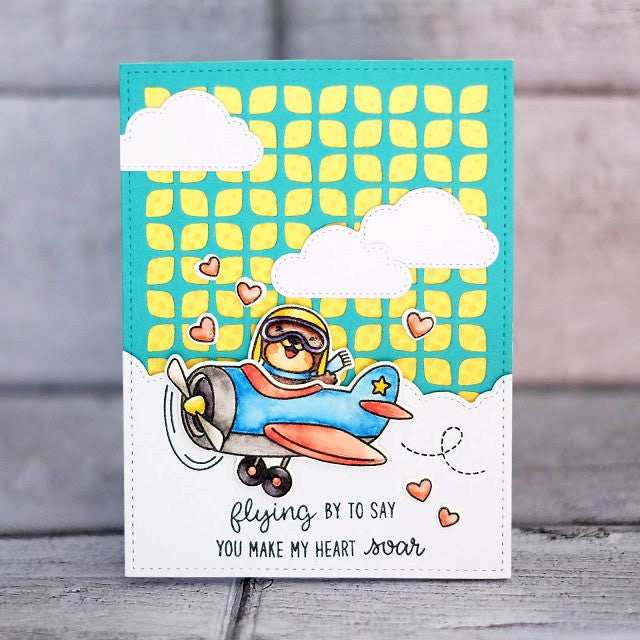 Sunny Studio Stamps Plane Awesome Airplane Handmade Card by Lexa Levana with Frilly Frames Retro Petals Background