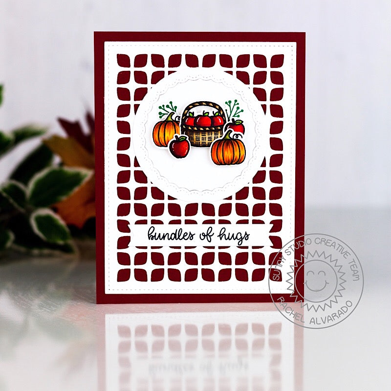 Sunny Studio Stamps Bundles of Hugs Fall Harvest Pumpkins & Apples Card (using Frilly Frames Retro Petals Die)