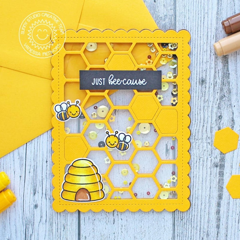 Sunny Studio Stamps Just Bee-cause Honeycomb Clear Shaker Card by Vanessa Menhorn (using Frilly Frames Hexagon Dies)