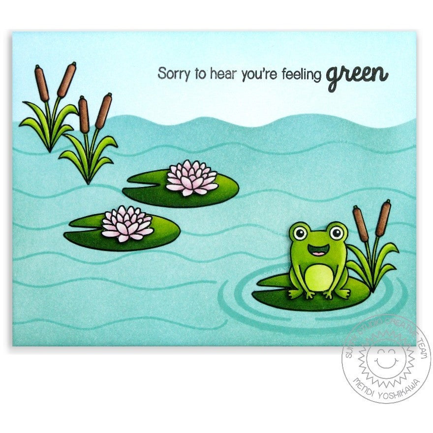 Sunny Studio Stamps Froggy Friends Frog Sorry You're feeling Green Get Well Card