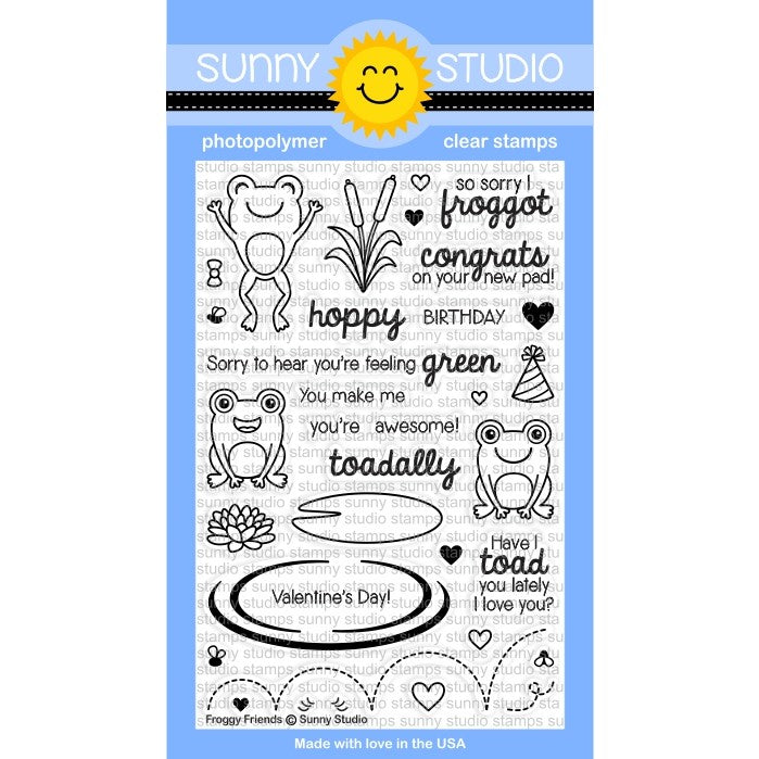 Sunny Studio Stamps Froggy Friends 4x6 Frog Photo-Polymer Clear Stamp Set