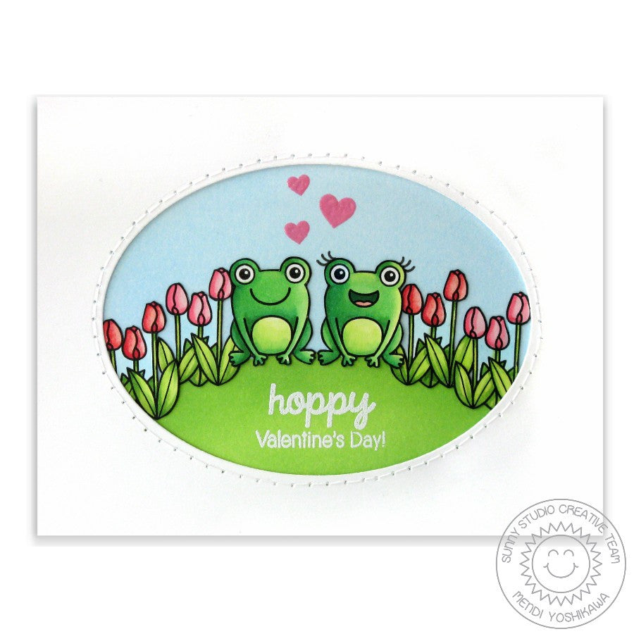 Sunny Studio Stamps Froggy Friends Hoppy Valentine's Day Frog Card