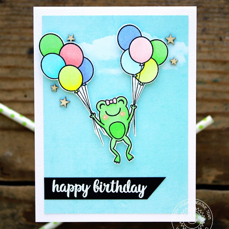 Sunny Studio Stamps Froggy Friends Frog Birthday Card with Two Balloon Bouquets.
