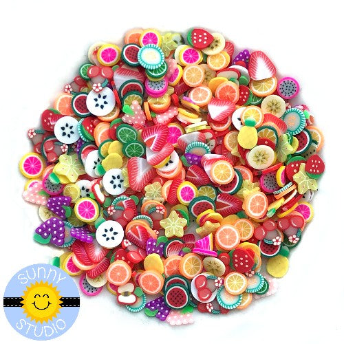 Sunny Studio Stamps 5mm fruit confetti mix with strawberries, lemons, limes, oranges, grapes, banana chips, pineapple, grapefruit, apples, watermelon & kiwi slices Clay Embellishments for Shaker Cards