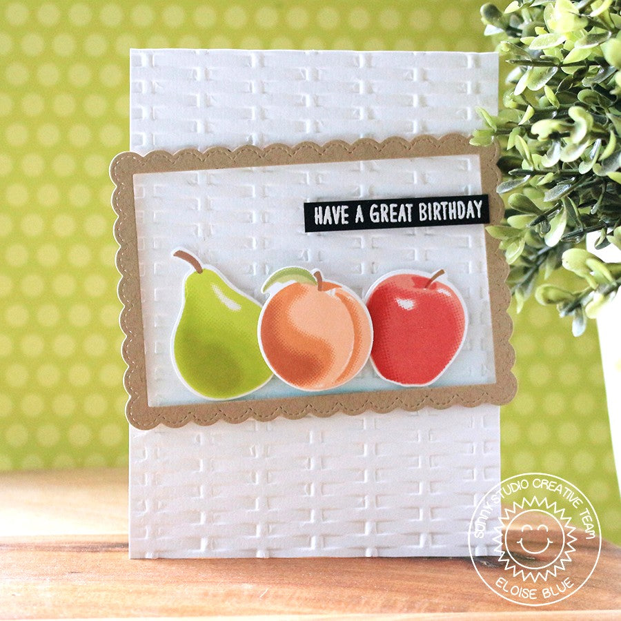 Sunny Studio Stamps Fruit Cocktail Basket Weave Embossed Card by Eloise Blue