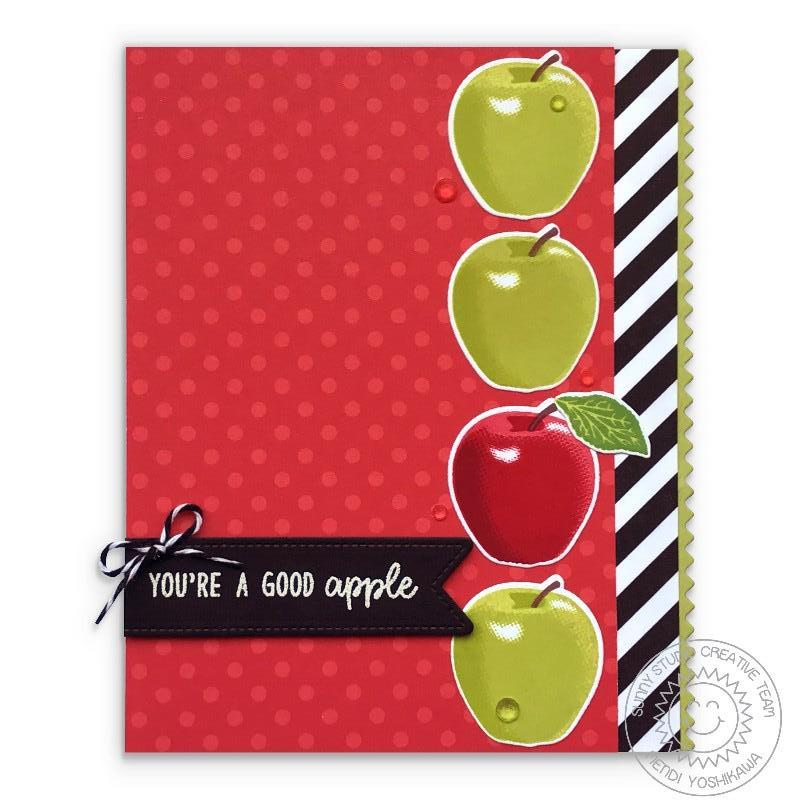 Sunny Studio Stamps Fruit Cocktail You're A Good Apple Black & White Striped Card by Mendi Yoshikawa