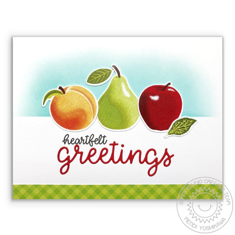 Sunny Studio Stamps Fruit Cocktail Apple, Peach & Pear Heartfelt Greetings Card