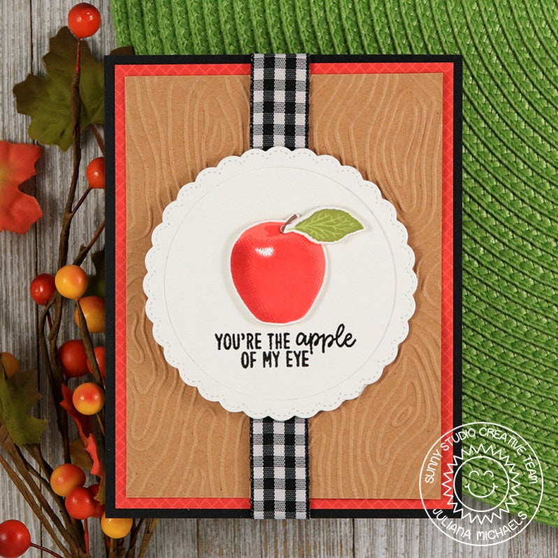 Sunny Studio You Are The Apple of My Eye Kraft & Gingham Card (using Fruit Cocktail Stamps)