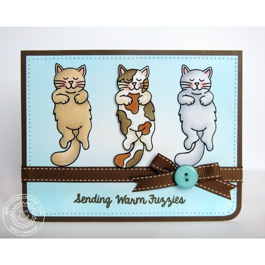 Sunny Studio Stamps Furever Friends Sending Warm Fuzzies Sleeping Kitty Cats Card