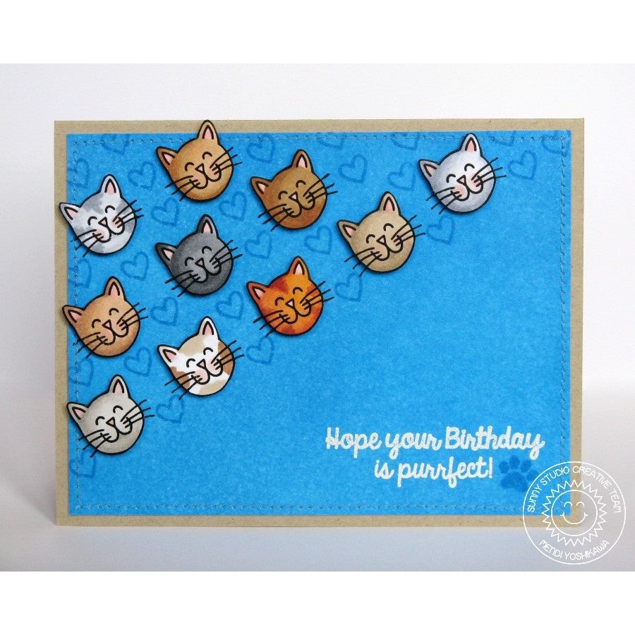 Sunny Studio Stamps Furever Friends Purrfect Birthday Kitty Cat Faces Card
