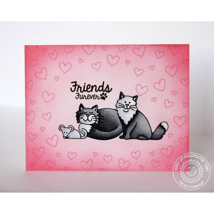 Sunny Studio Stamps Furever Friends Pink & Grey Kitty Cat & Mouse Card