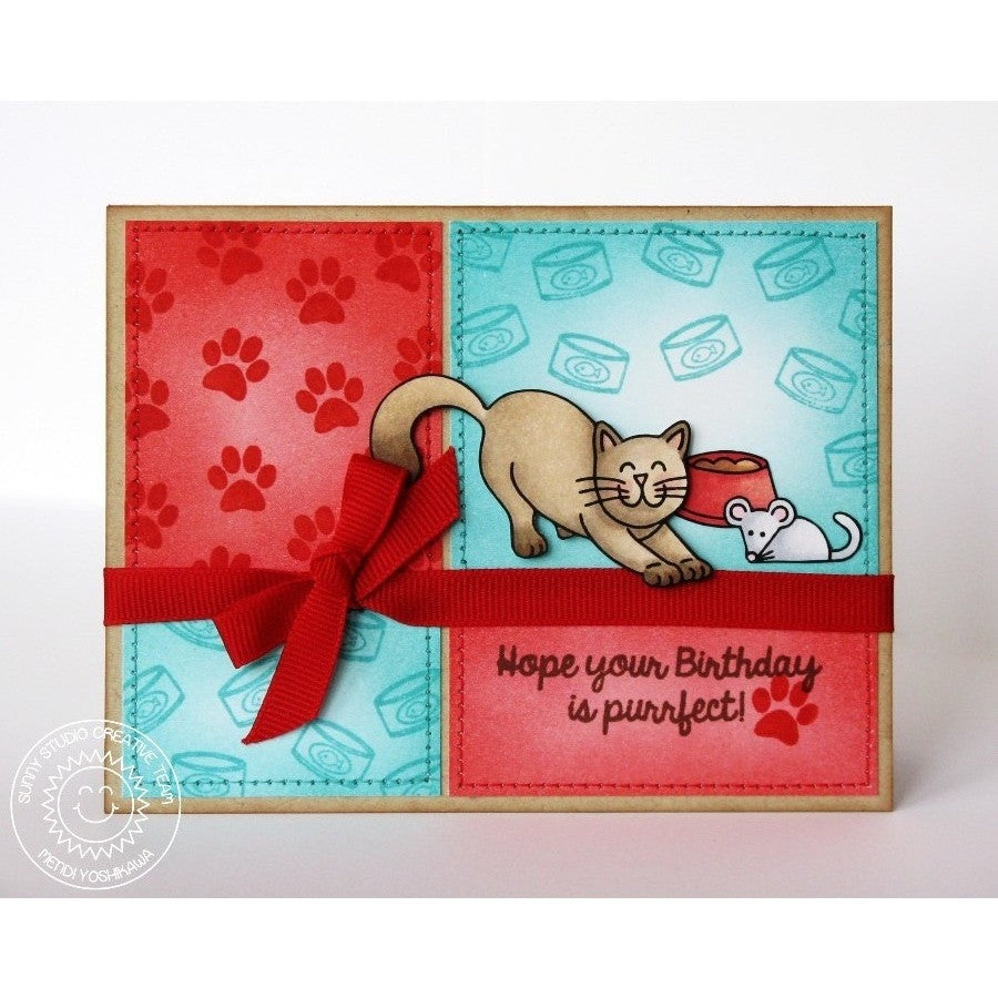 Sunny Studio Stamps Furever Friends Purrfect Birthday Kitty Cat Grid Style Card