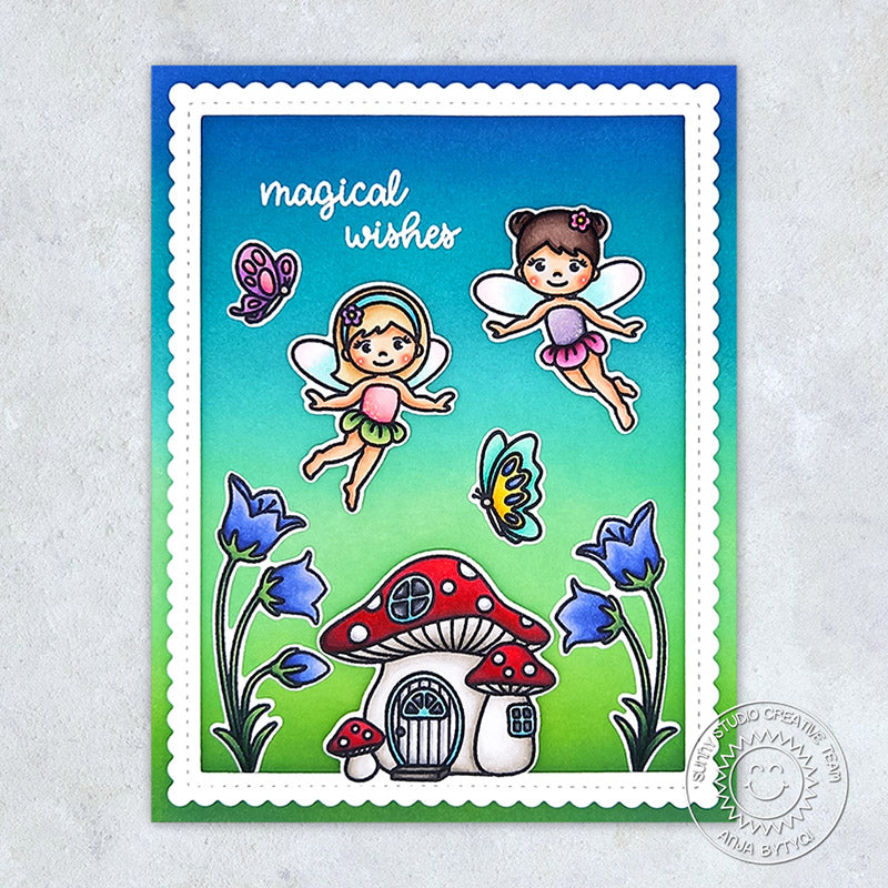 Sunny Studio Magical Wishes Fairies with Butterflies & Toadstool House Handmade Card (using Garden Fairy 4x6 Clear Stamps)
