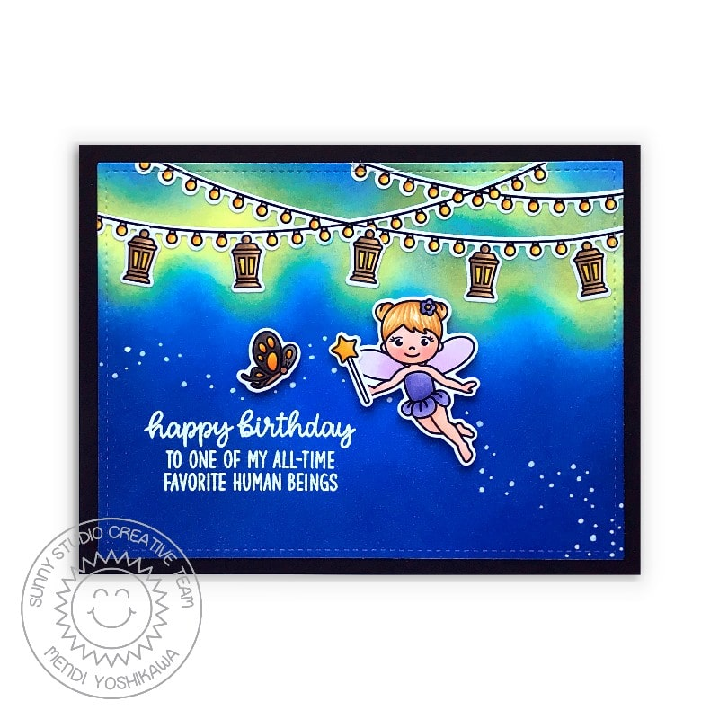 Sunny Studio Happy Birthday to One of My All-time Favorite Human Beings Hanging Lantern Pixie Dust Card (using Garden Fairy Clear Stamps)