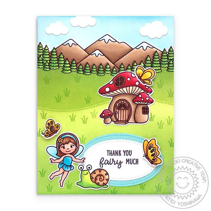 Sunny Studio Thank You Fairy Much Punny Butterfly & Toadstool House Card (using Fairy Garden Clear Stamps)